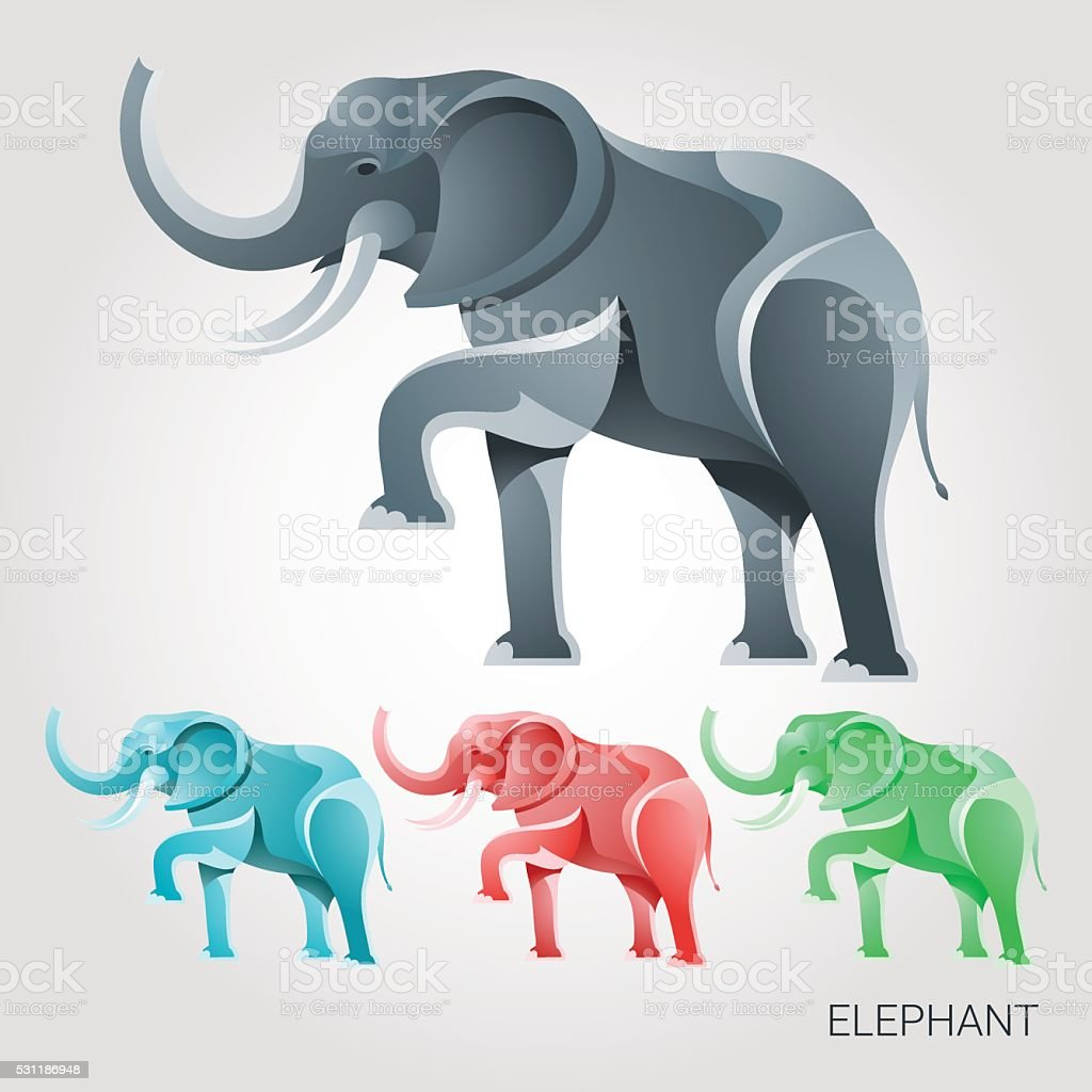 Vector image of an elephant on a white background vector art illustration