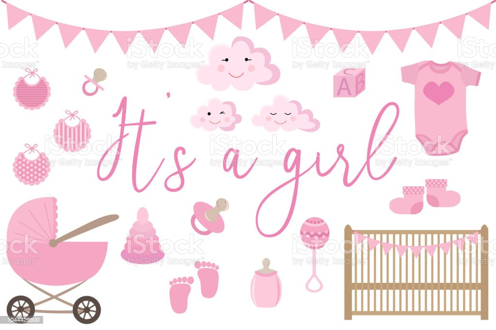 Vector Image Of An Invitation Card For Baby Shower Set Of Items For Greeting Cards For A Newborn Girl Illustration For A Girl In Pink Tones Stock