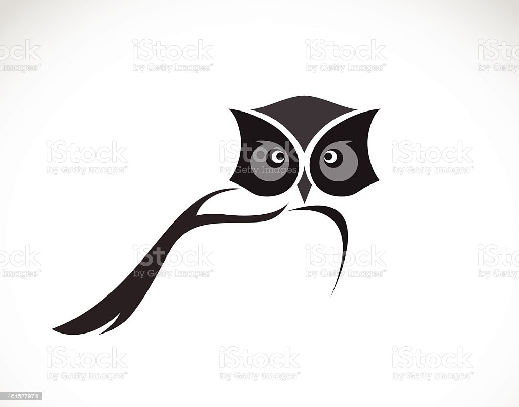 Vector image of an owl design on white background vector art illustration