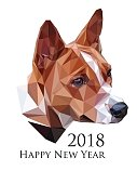 Color portrait of the Basenji Dog, on white background, Chinese calendar Zodiac for 2018 New Year of the brown earth dog. Isolated vector silhouette made on low polygonal style.