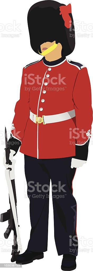 Vector image of beefeater isolated on white royalty-free stock vector art