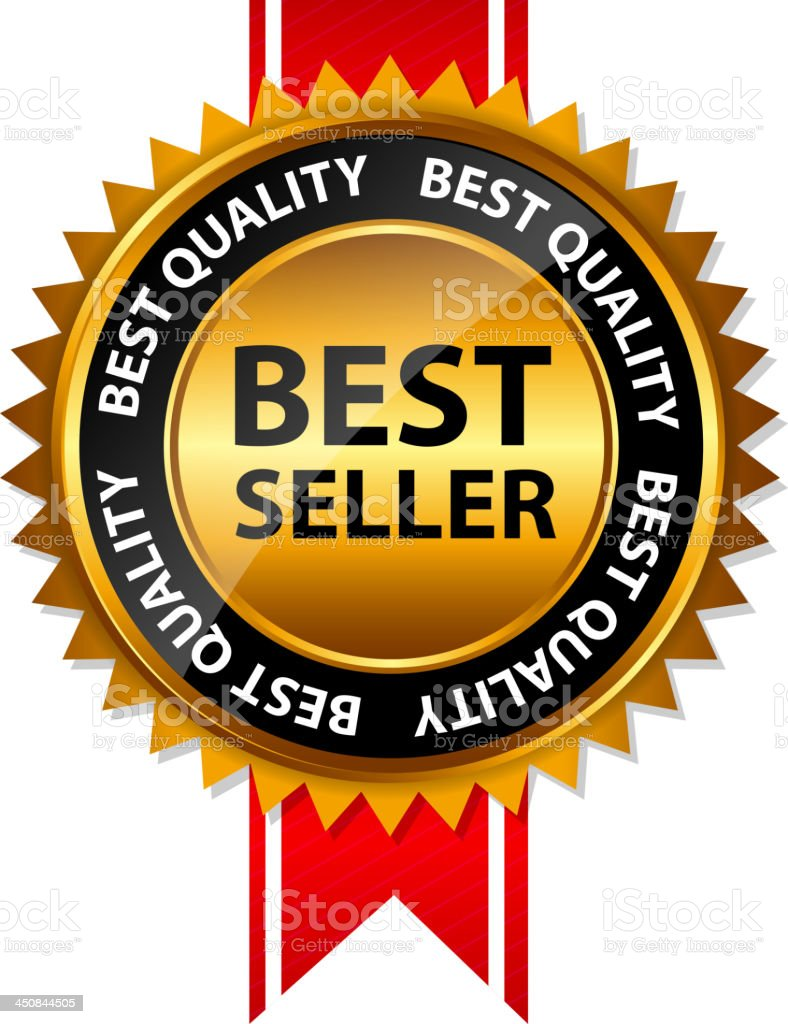 vector image of best seller seal with red ribbon stock vector art