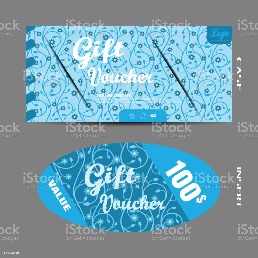 Vector image of blank voucher with insert on the light blue background with floral pattern. vector art illustration