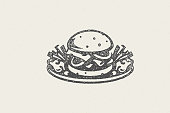 Burger silhouette and fries on plate as logo fast food hand drawn stamp effect vector illustration. Vintage grunge texture symbol for packaging and fast food restaurant menu design or label decoration