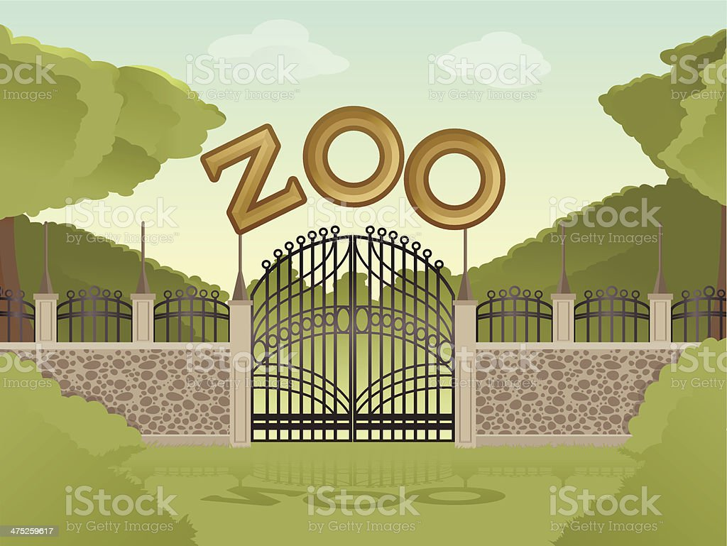 Vector image of cartoon zoological garden background vector art illustration