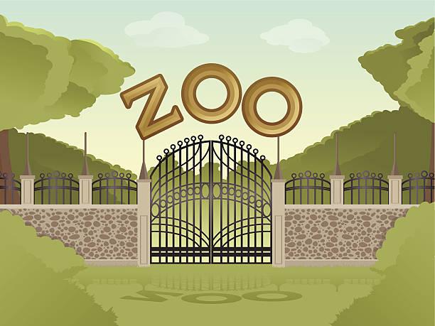 ベクトル画像の漫画の動物園を背景 - 動物園点のイラスト素材/クリップアート素材/マンガ素材/アイコン素材