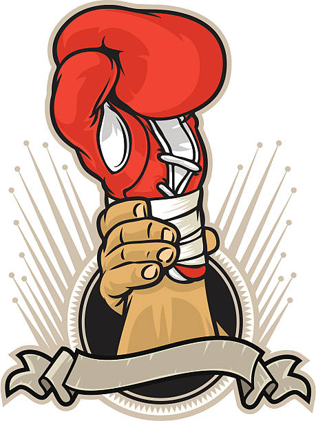 Vector image of champion boxing glove vector art illustration
