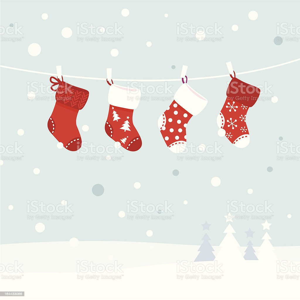 Vector image of Christmas stockings on clothesline vector art illustration