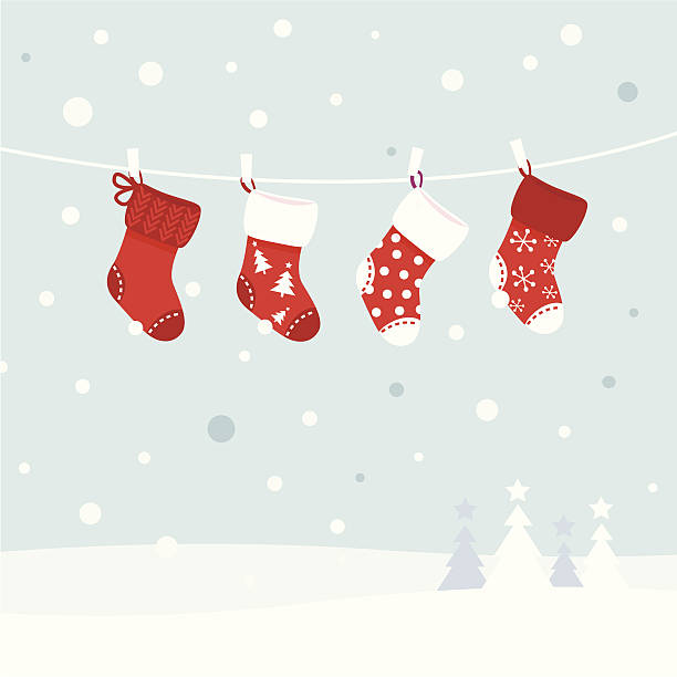 Vector image of Christmas stockings on clothesline Cute christmas stockings, winter snow in background. Vector  retro Illustration christmas stocking stock illustrations