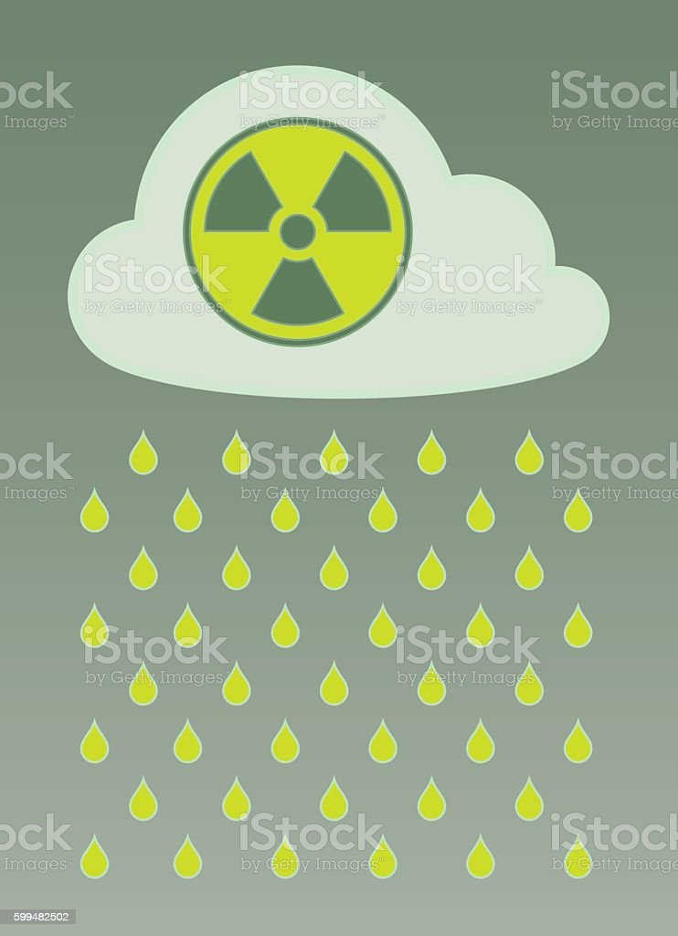 Vector image of cloud with radioactive icon and nuclear fallout vector art illustration