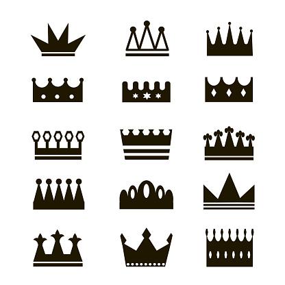 Vector image of crowns. Black icon of king or queen symbol. Vintage royal logo.