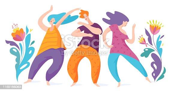 Spontaneous dancing people. Vector men and woman dancing. 5 Rhythms dancing.