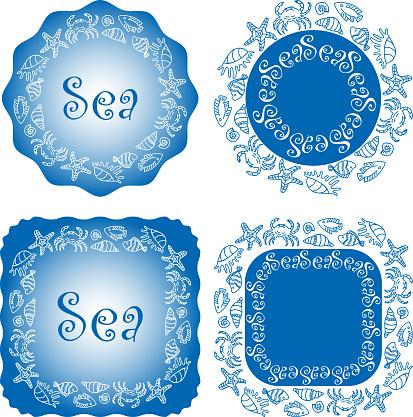 Vector image of decorative design elements of theme sea life