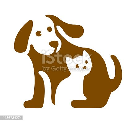 Vector image of dog and cat on white. Pet logo