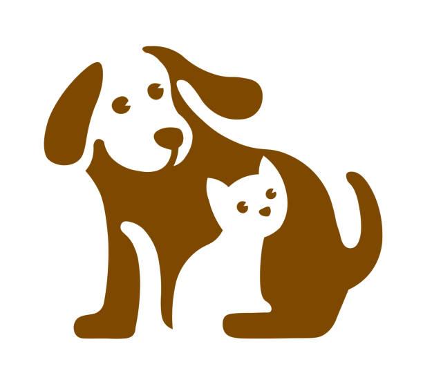 ilustraciones, imágenes clip art, dibujos animados e iconos de stock de imagen vectorial del logotipo de perro y gato en blanco - mascota