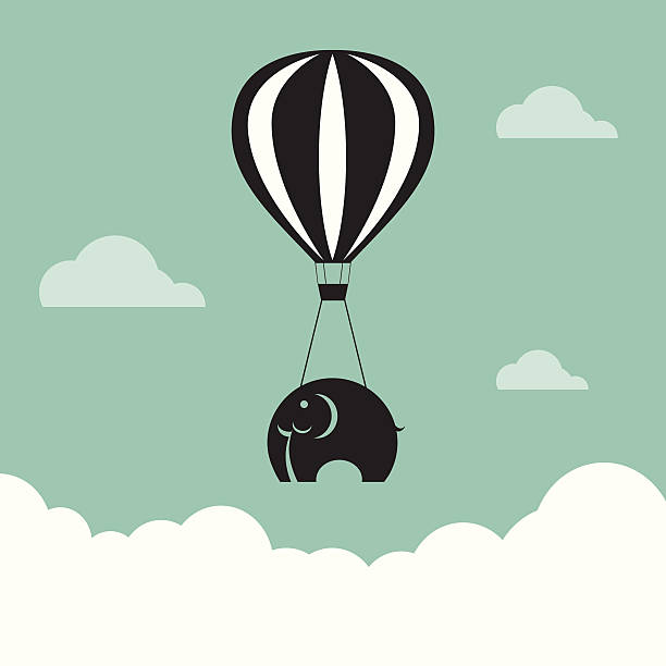 Vector image of elephant with balloons Vector image of elephant with balloons in the sky. deadweight stock illustrations