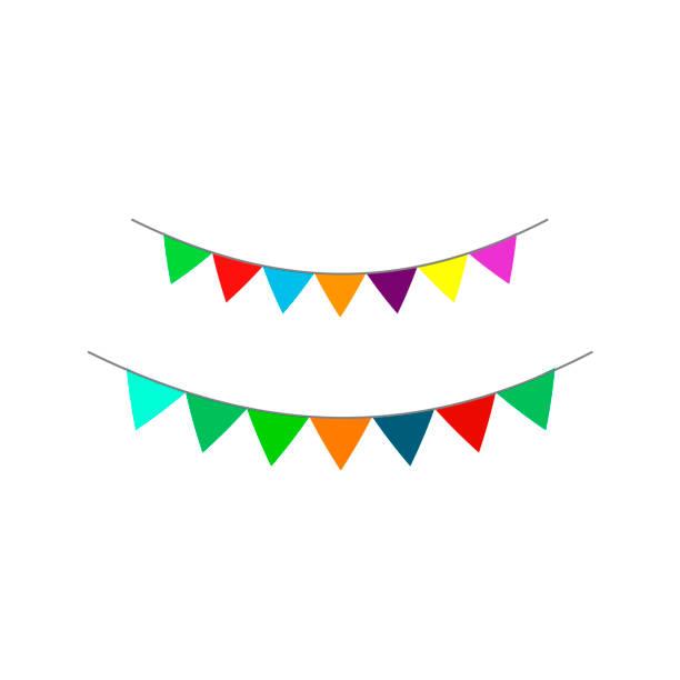 beyaz arka tarafta ki çok renkli bayrakların vektör görüntüsü. - sale stock illustrations