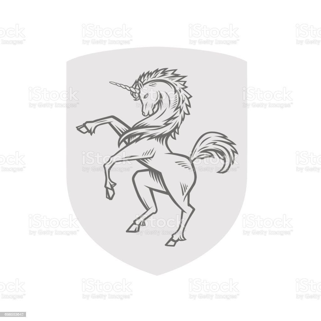 Vector image of heraldic unicorn vector art illustration