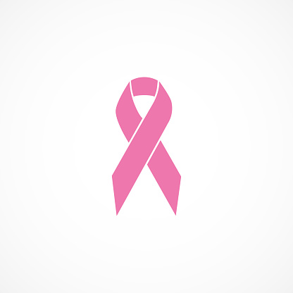 Vector image of icon pink ribbon.