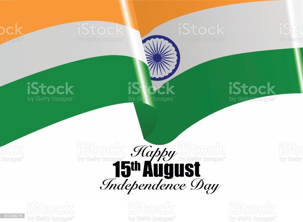 Vector image of India waving flag on independence day 15th august vector art illustration