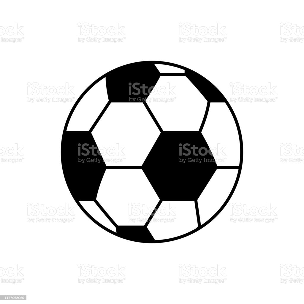 Vector image of isolated, linear soccer ball icon. Design a flat...