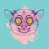 Vector image of lemur lory. painted in pink on a turquoise background. Surrealism. T-shirt design.