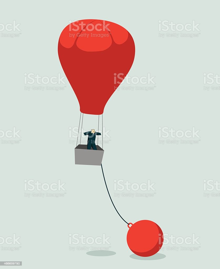 Vector image of man in red hot air balloon chained to ball vector art illustration