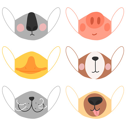 Vector image of masks with animal prints such as coala, duck, mouse, pig, bear and dog on a white background