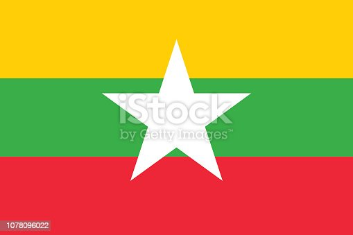 Vector Image of Myanmar Flag. Based on the official and exact Myanmar flag dimensions (3:2) & colors (116C, 361C, 1788C and White)