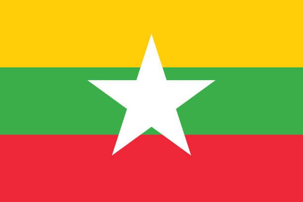 stockillustraties, clipart, cartoons en iconen met vector afbeelding van myanmar vlag - myanmar