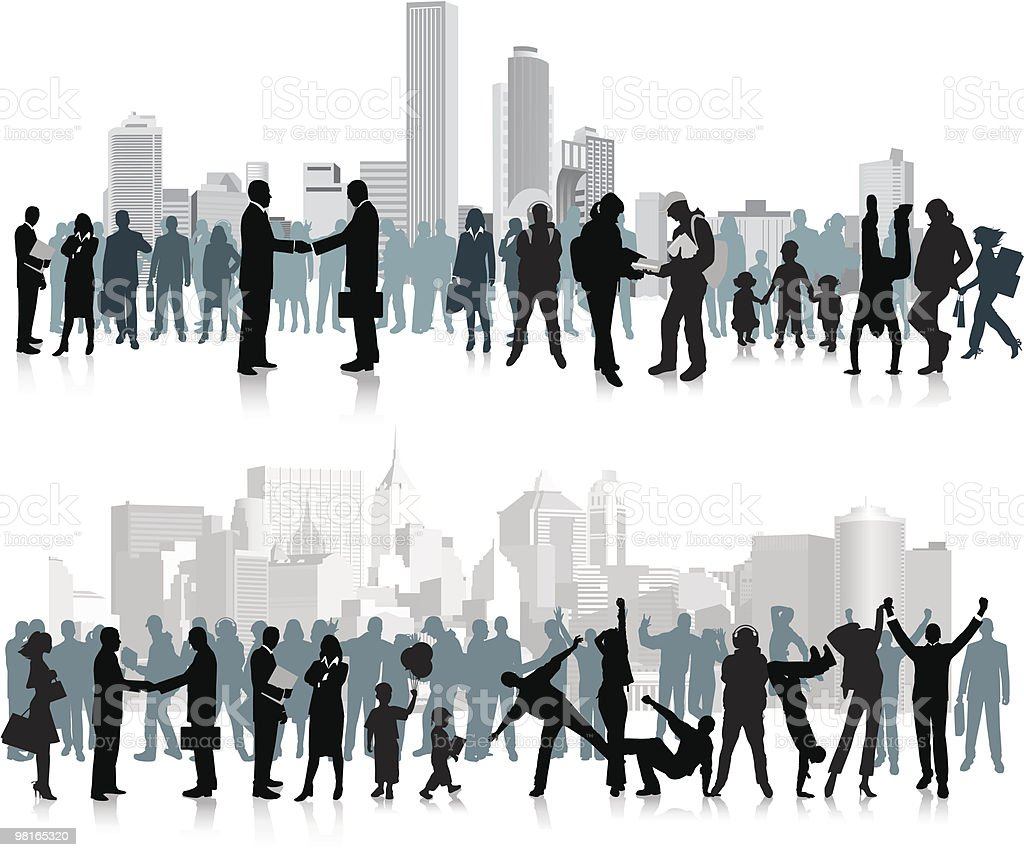 A vector image of people in front of a city skyline vector art illustration
