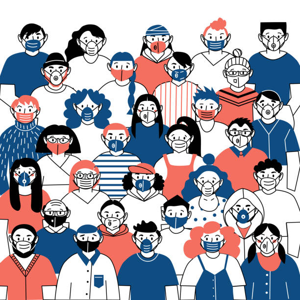 vector image of people wearing medical masks protecting themselves from the virus. coronovirus epidemic. flash of influenza. - face mask stock illustrations