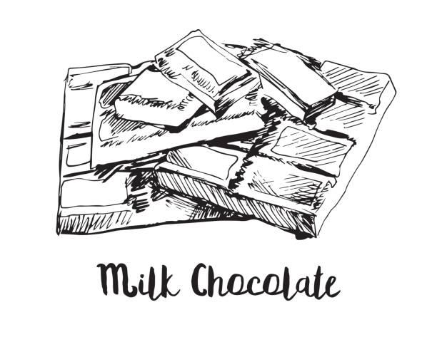 vektor-bild von stücken der leckere vollmilchschokolade. handzeichnung. - tortenriegel stock-grafiken, -clipart, -cartoons und -symbole