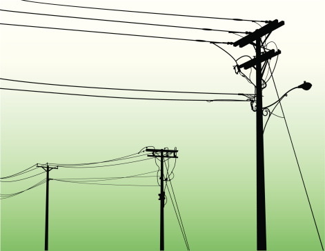 Vector image of powerlines on shaded green background