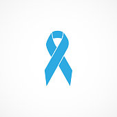 istock Vector image of prostate cancer awareness ribbon.Blue ribbon. 1267859655
