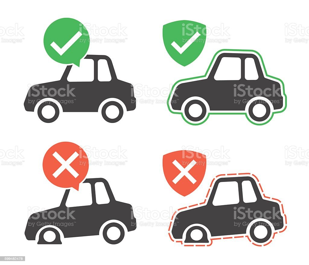Vector image of protected and breakdown cars vector art illustration