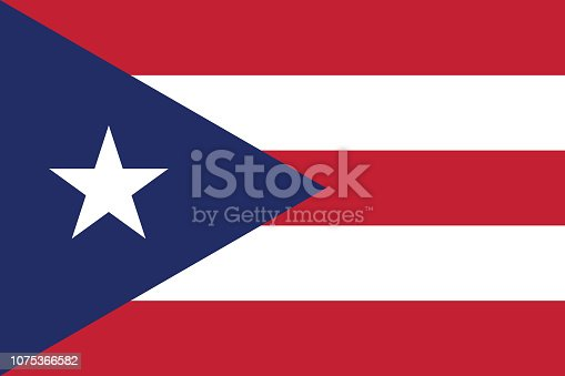 Vector image for Puerto Rico flag. Based on the official and exact Puerto Rican flag dimensions (3:2) & colors (280C, 200C and White)