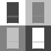 Vector image of refrigerator. refrigerator Icon. Vector white icon  set on white-grey-black color