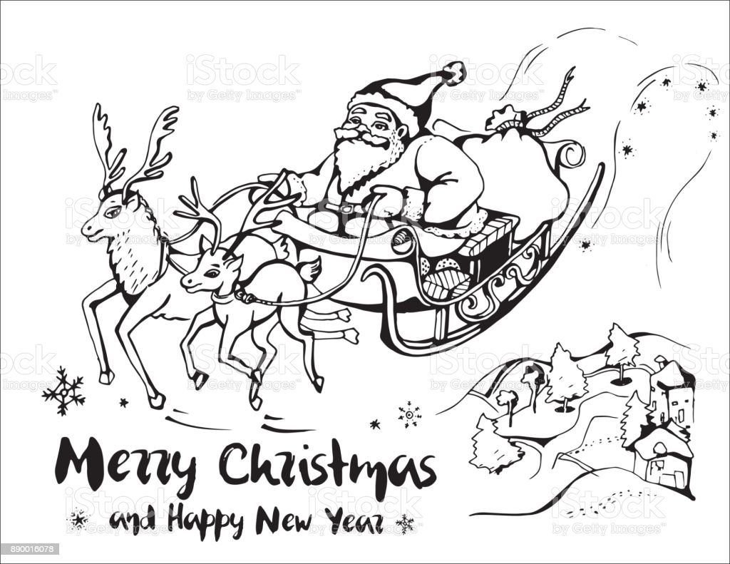 Vector image of Santa Claus in a sleigh pulled by large and small reindeer in landscape with houses and trees. Merry Christmas and Happy New Year. vector art illustration