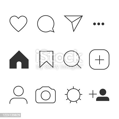 istock Vector image of set Internet icons. 1224135629