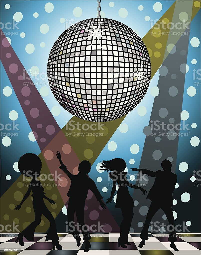 A vector image of silhouetted people at a disco - Royaltyfri 1970-1979 vektorgrafik