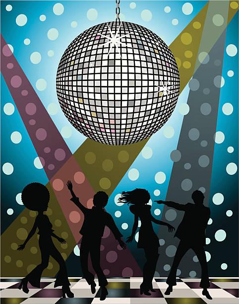 bildbanksillustrationer, clip art samt tecknat material och ikoner med a vector image of silhouetted people at a disco - 50 59 år