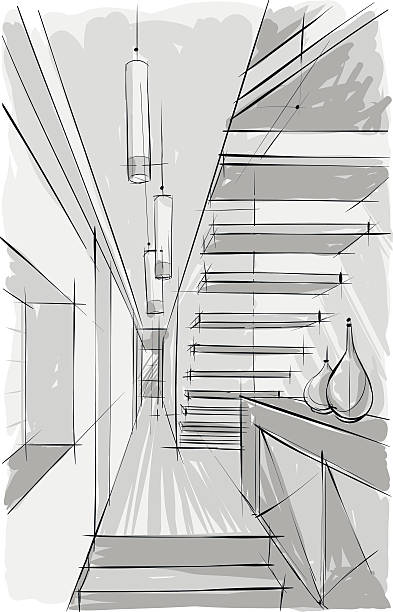 Vector image of stairs vector art illustration