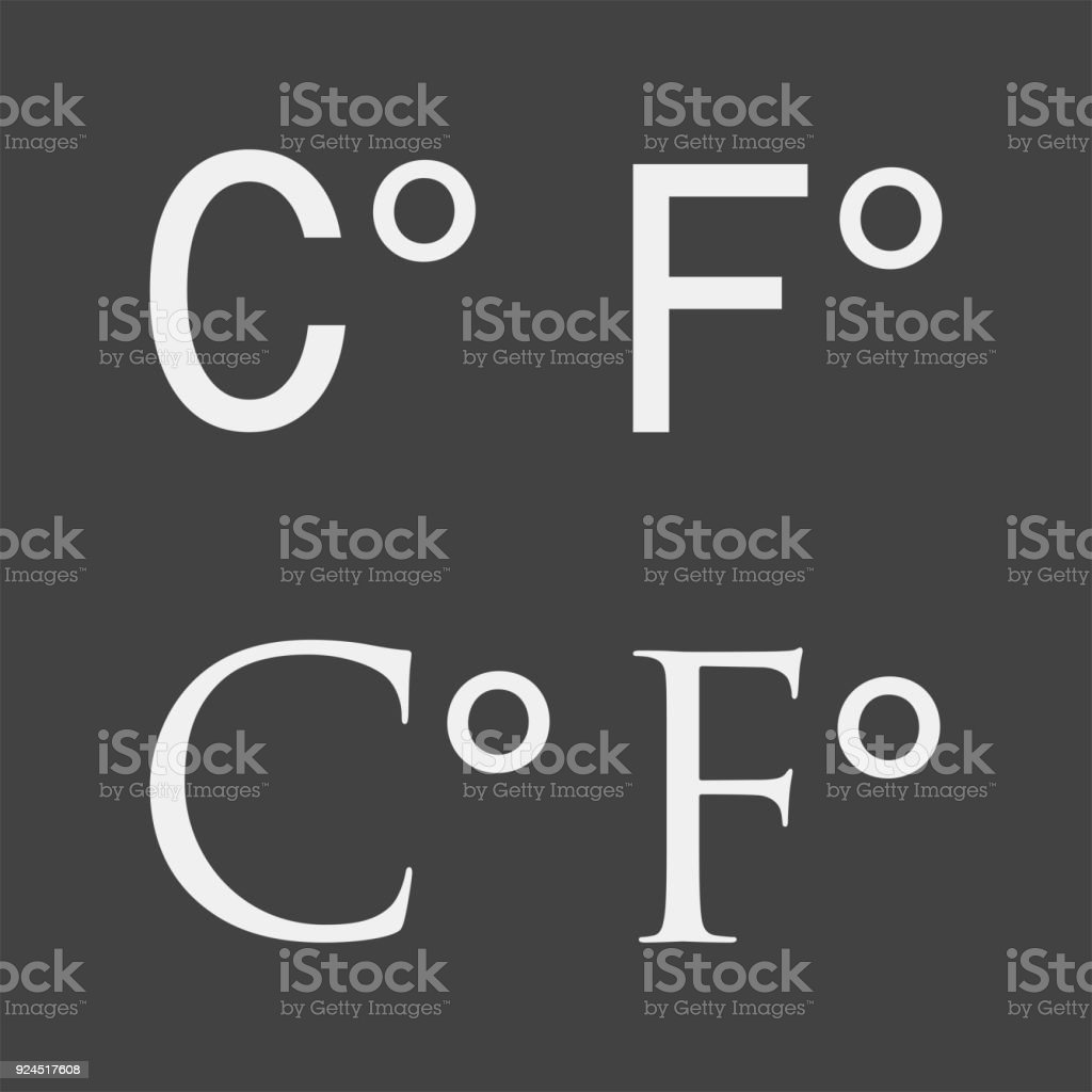 A Vector Image Of The Abbreviation Celsius And Fahrenheit Degree Icon