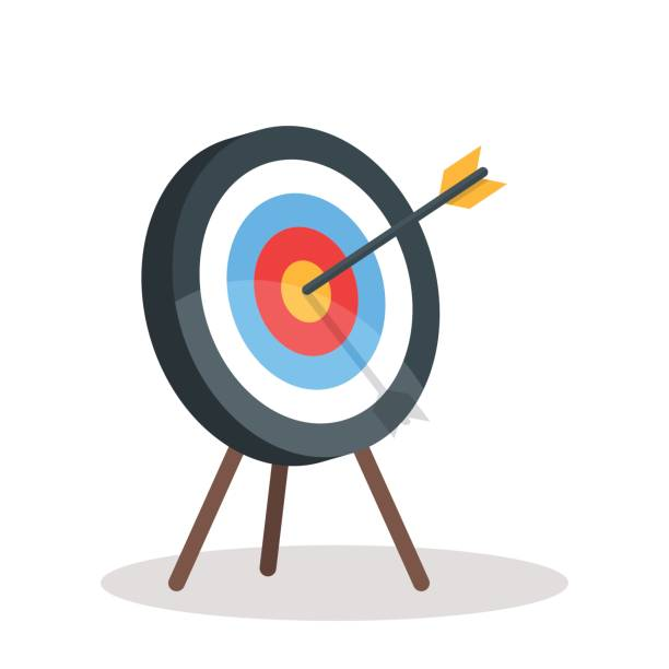 Vector image of the arrow is exactly on the target. Vector illustration isolated on white background vector art illustration