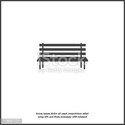 Vector image of the bench. Vector icon on  white isolated background Layers grouped for easy editing illustration. For your design.