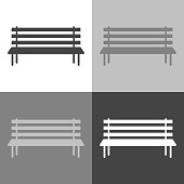 Vector image of the bench. Vector icon set on white-grey-black color