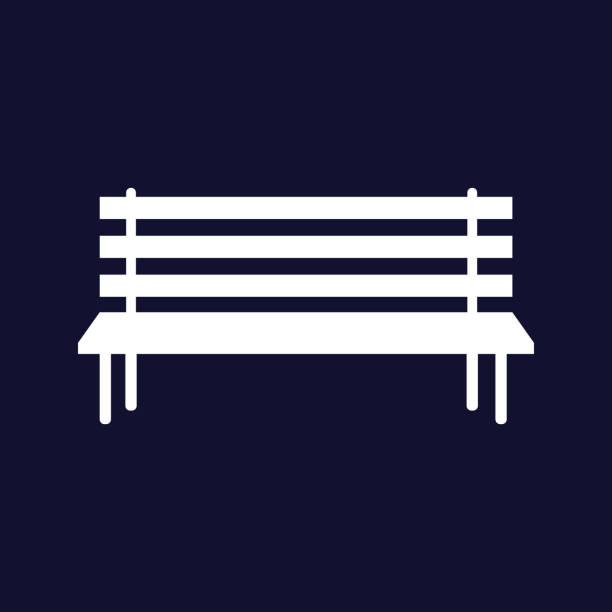 bildbanksillustrationer, clip art samt tecknat material och ikoner med vektorbild av bänken. vector vit ikon på mörkblå bakgrund. - bench
