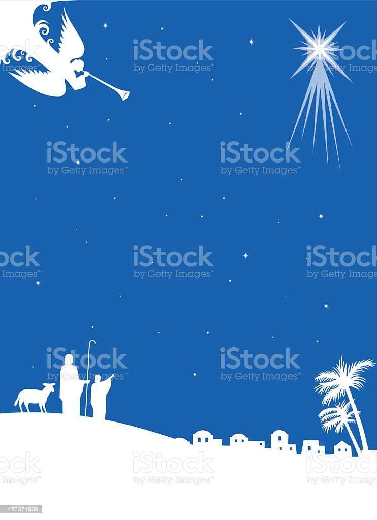 Vector image of the catholic nativity in blue vector art illustration