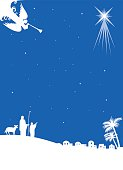 Vector image of the catholic nativity in blue